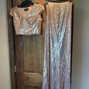 Rose gold sequin 2 piece bridesmaid dress
